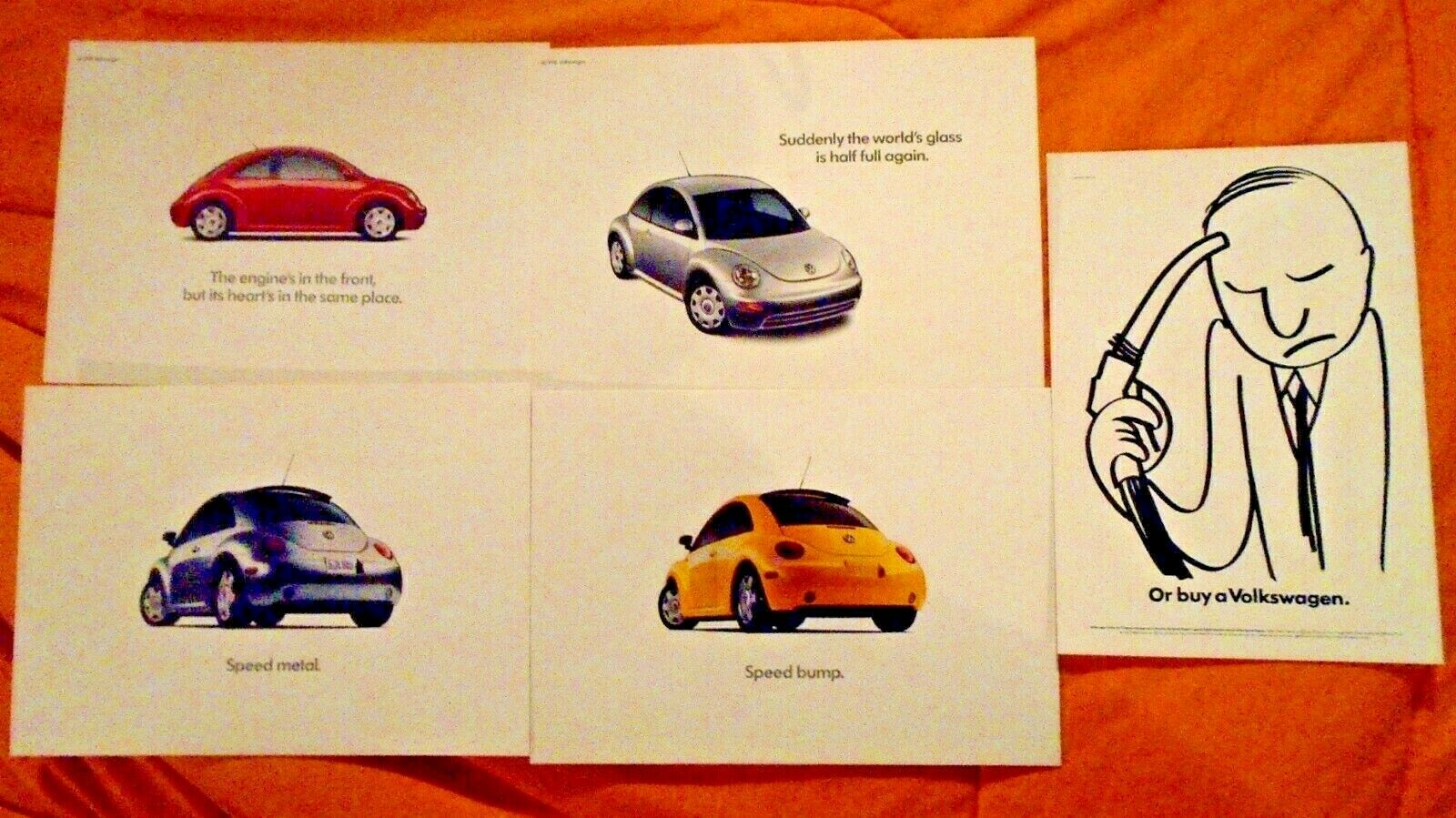 Set of 5 Vintage 90's VW Bug Beetle Relaunch AD Postcards Canada