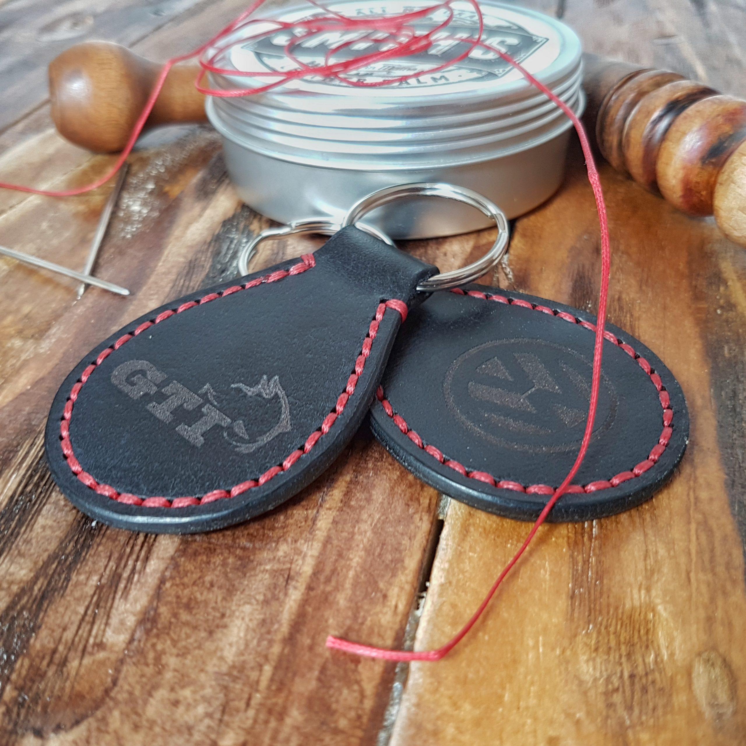 Leather Key Fobs-VW-Gti Leather Keyrings-Engraved Black Gti Diablo Leather Keyrings